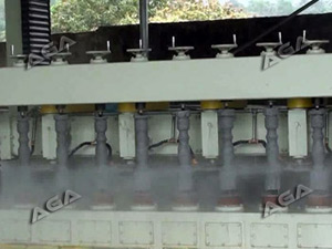 machine cutting stone pillars